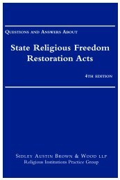 State Religious Freedom Restoration Acts - Sidley Austin LLP