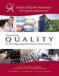 2013 Membership Brochure - Society of Quality Assurance