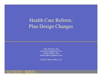 Health Care Reform: Plan Design Changes