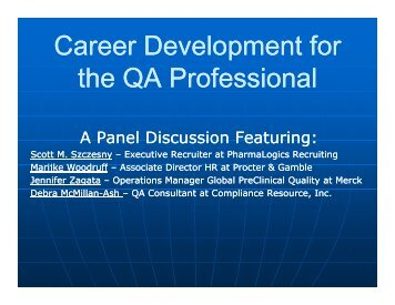 Career Development for p the QA Professional - Society of Quality ...