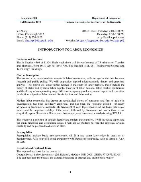 introduction to labor economics - IU School of Liberal Arts