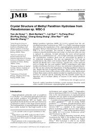 Crystal Structure of Methyl Parathion Hydrolase from Pseudomonas ...