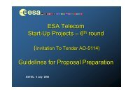 ESA Telecom Start-Up Projects – 6 round Guidelines for Proposal ...