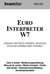 euro interpreter w7 - Franklin Electronic Publishers