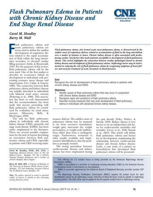 Flash Pulmonary Edema In Patients With Chronic Kidney Disease
