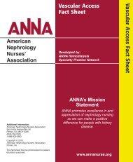 Vascular Access Fact Sheet - American Nephrology Nurses ...
