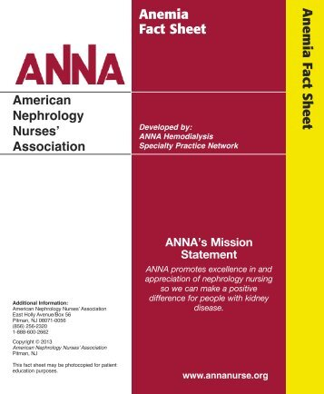 Anemia Fact Sheet - American Nephrology Nurses Association