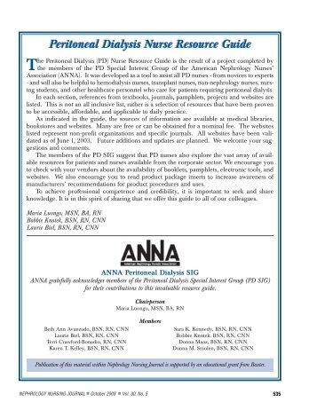 Peritoneal Dialysis Nurse Resource Guide - American Nephrology ...