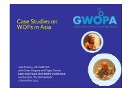 Case Studies on WOPs in Asia - International Water Week 2013