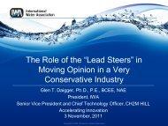"The Role of the ""Lead Steers"" - International Water Week 2013"