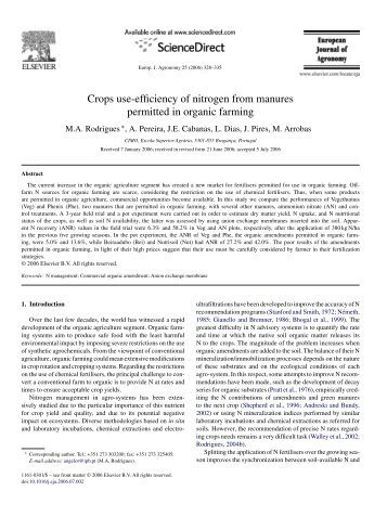 Crops use-efficiency of nitrogen from manures permitted in organic ...
