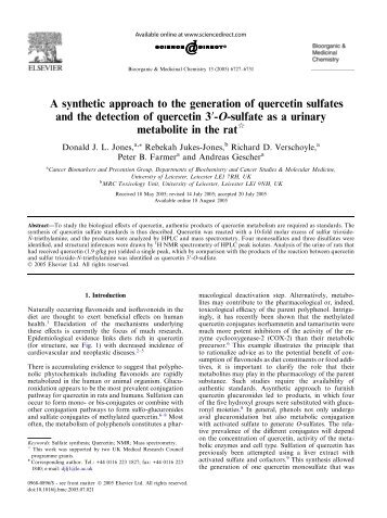 A synthetic approach to the generation of quercetin sulfates and the ...