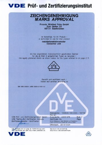 Vde-Zertifikat: JUMBO - F-tronic