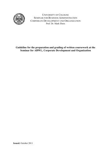Guideline for the preparation and grading of written coursework at ...