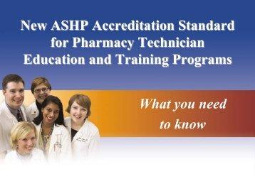 New Pharmacy Technician Training Standard Forum