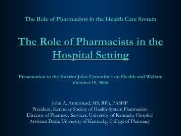 The Role of Pharmacists in the Hospital Setting - American Society ...