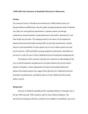 ASHP-SHM Joint Statement on Hospitalist-Pharmacist Collaboration