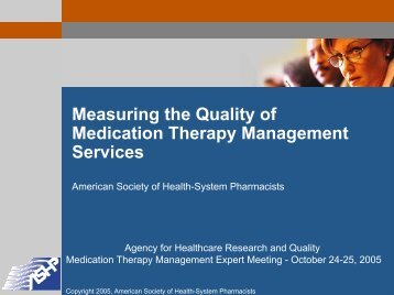 Measuring the Quality of Medication Therapy Management Services