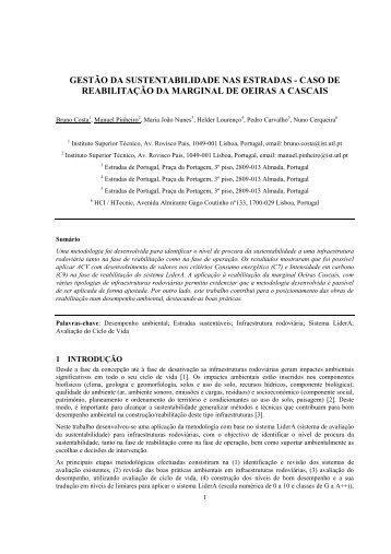gestão da sustentabilidade nas estradas - caso de ... - CRP