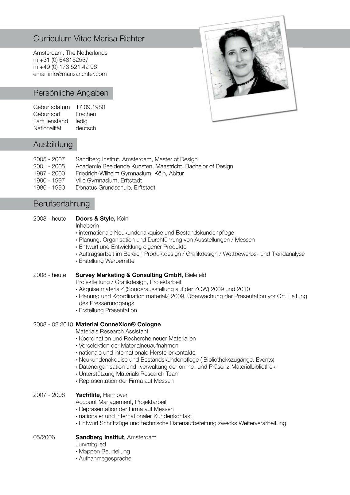 curriculum vitae auf deutsch