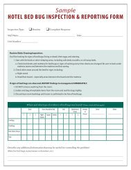 Sample HOTEL BED BUG INSPECTION & REPORTING FORM