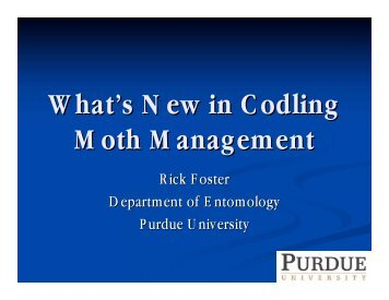 What's New in Codling Moth Management - Purdue Extension ...