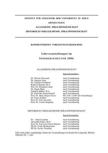 Sommersemester 2006 - Institut für Linguistik - Universität zu Köln