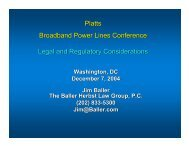 Platts Broadband Power Lines Conference Legal and Regulatory ...