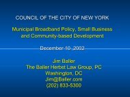 Jim Baller, Testimony to NYC City Council, December 10, 2002