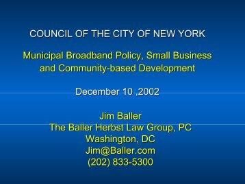 Jim Baller, Testimony to NYC City Council, December 10, 2002
