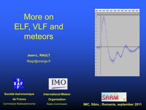 on ELF, VLF and meteors - International Meteor Organization