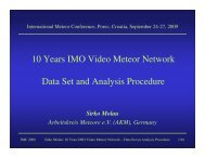 10 Years IMO Video Meteor Network Data Set and Analysis Procedure