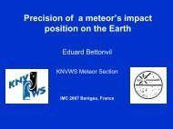 Precision of a meteor's impact position on the Earth