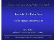 Towards Flux Rates from Video Meteor Observations - International ...