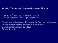 All-sky TV meteor observation from Modra