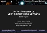 Damir Segon: On Astrometry of Very Bright Video Meteors
