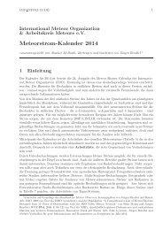 Meteor-Kalender 2014 - Arbeitskreis Meteore eV