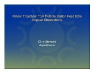 Chris Steyaert: Meteor Trajectory from Multiple Station Head Echo ...