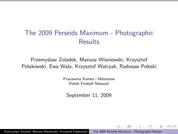 The 2009 Perseids Maximum - Photographic Results