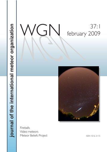 The current issue - International Meteor Organization