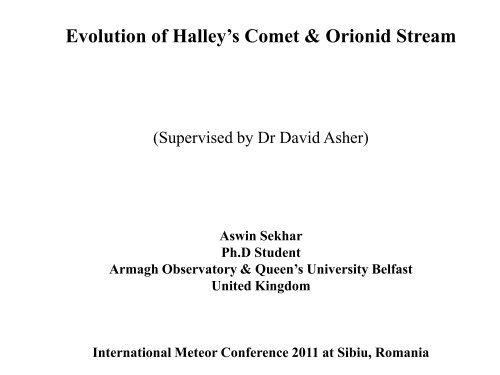 Long Term Evolution of Orionid Stream - International Meteor ...
