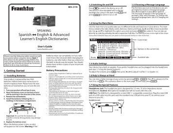 Spanish English & Advanced Learner's English Dictionaries