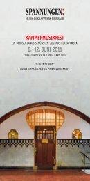 KAMMERMUSIKFEST 6.–12. JUNI 2011 - Avi - Service for music