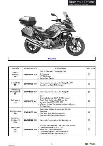 Page 1 ZUBEHÖR ARTIKEL NUMMER 2012 F.R.T NC 700X ...