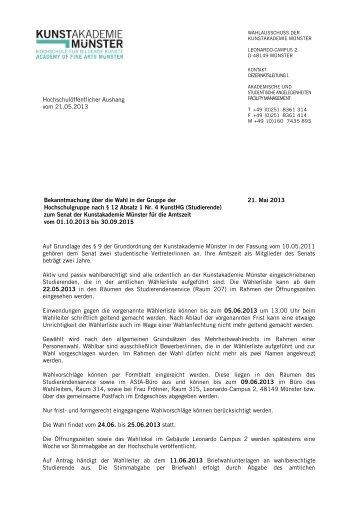 Wahlbekanntmachung - Kunstakademie Münster
