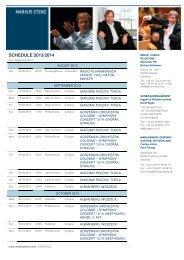 SCHEDULE 2013/2014 - Markus Stenz