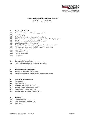 Hausordnung der Kunstakademie Münster