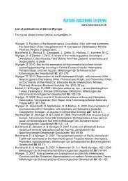 List of publications of Denise Wyniger For copies please contact ...