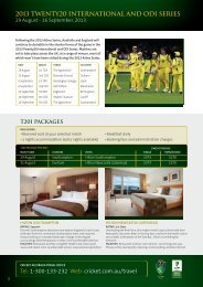 Download the brochure - Cricket Australia Travel Office