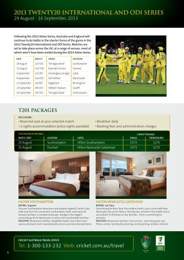 Download the brochure - Cricket Australia Travel Office